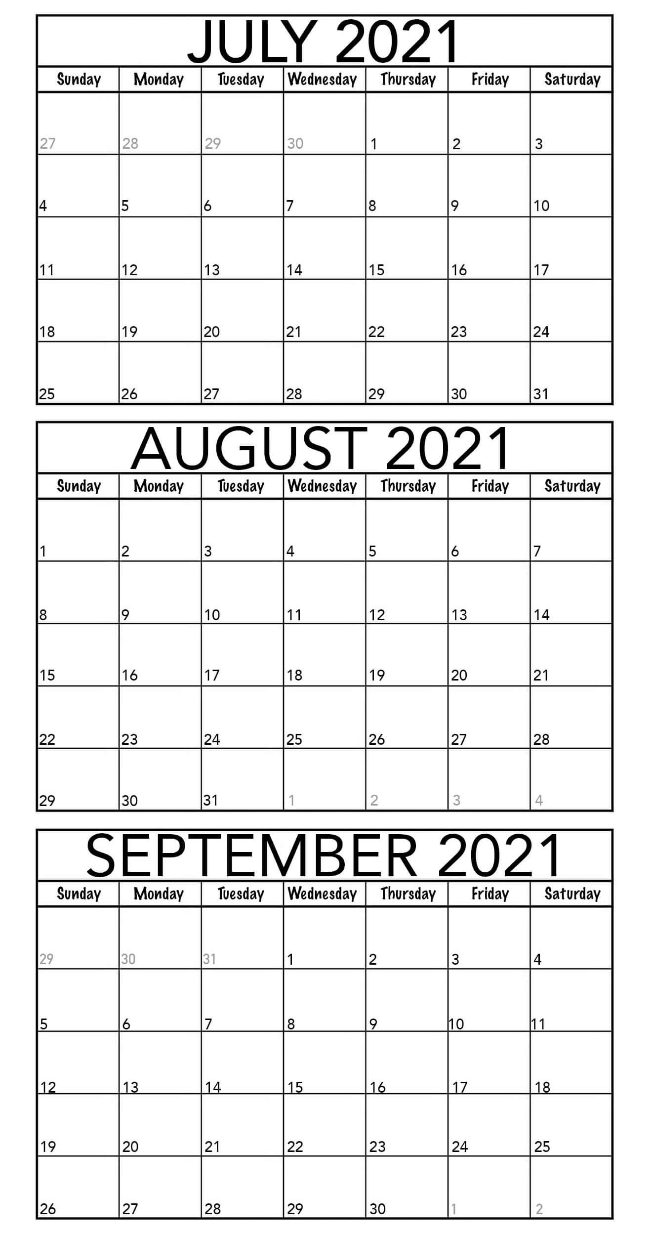 July To September 2021 Calendar