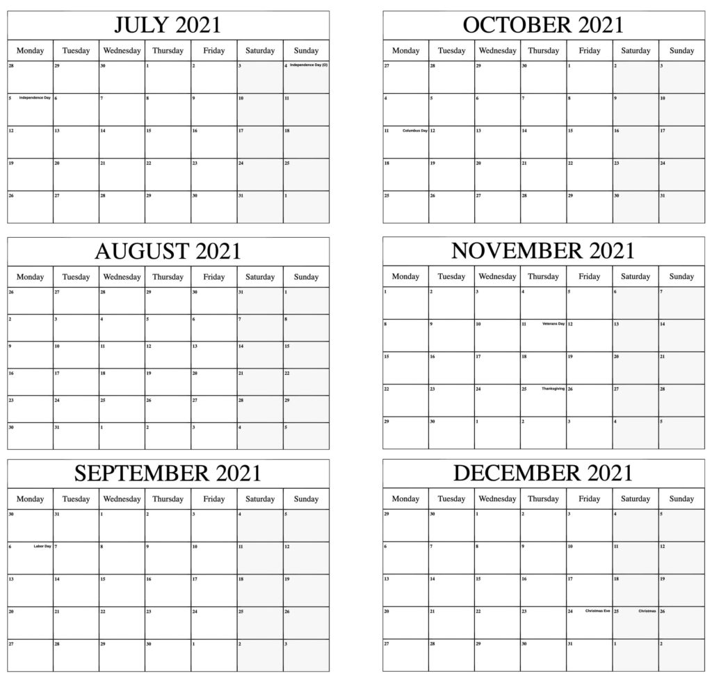 July to December 2021 Calendar With Holidays