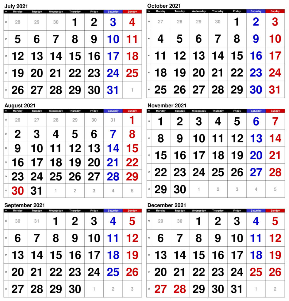 July to December 2021 Calendar Word