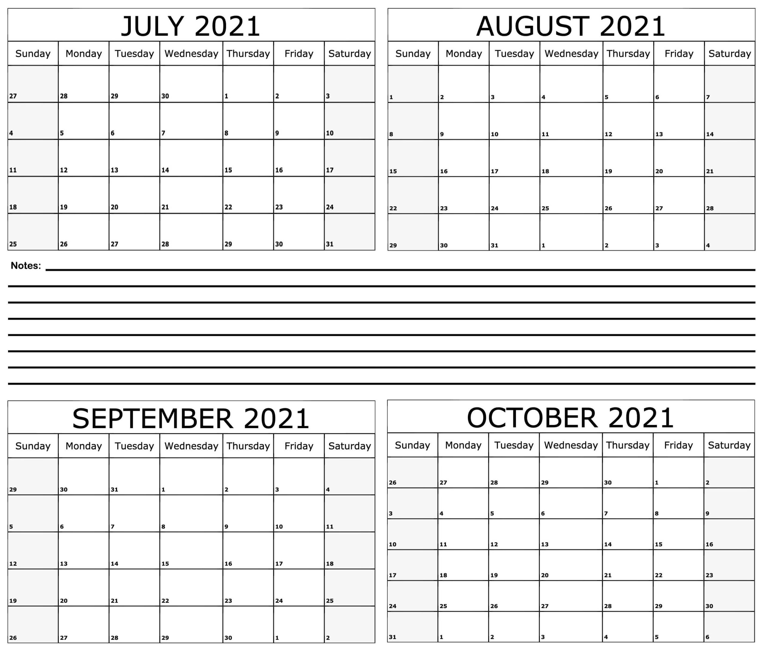 July to October 2021 Calendar Printable