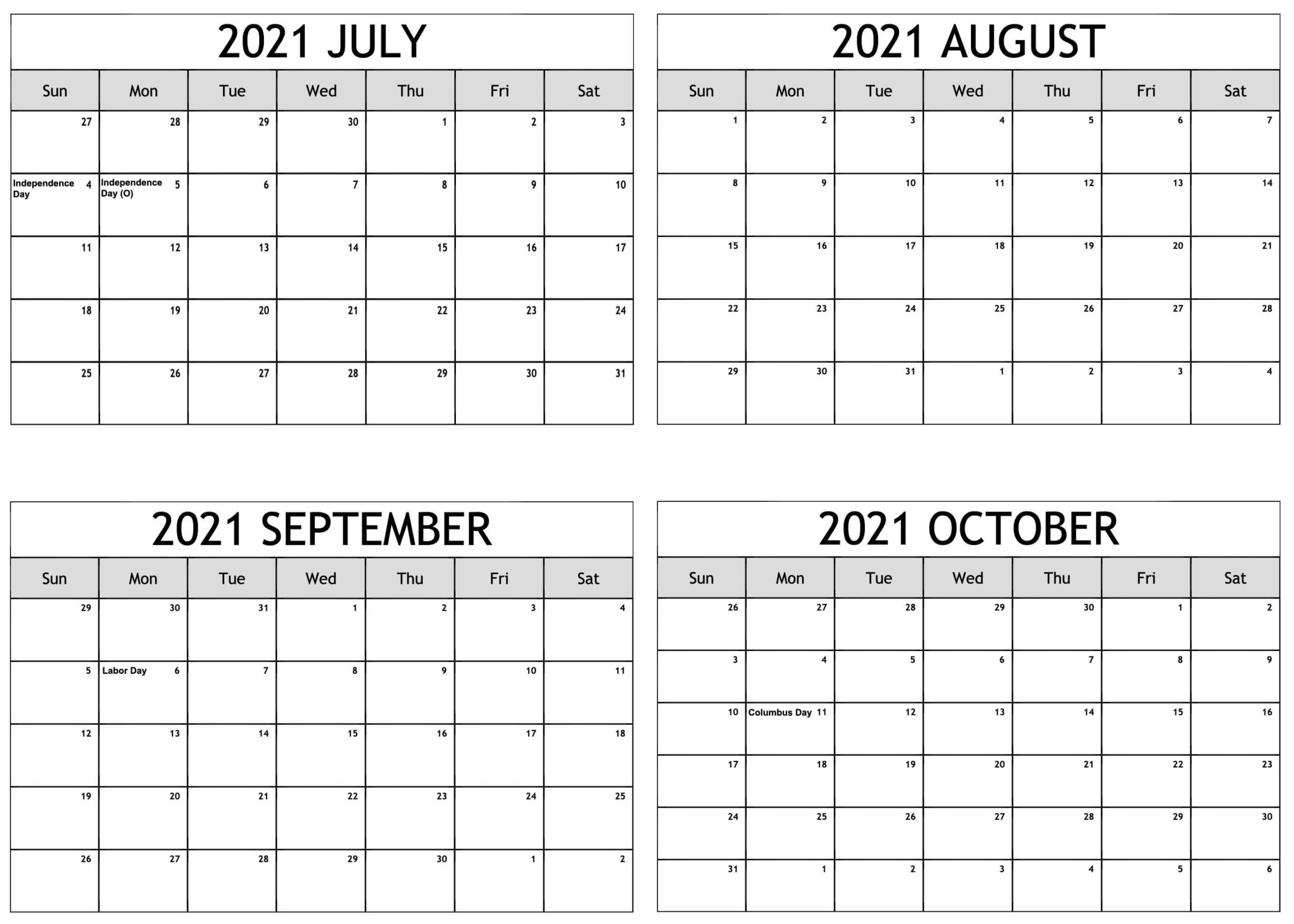 July to October 2021 Calendar Template