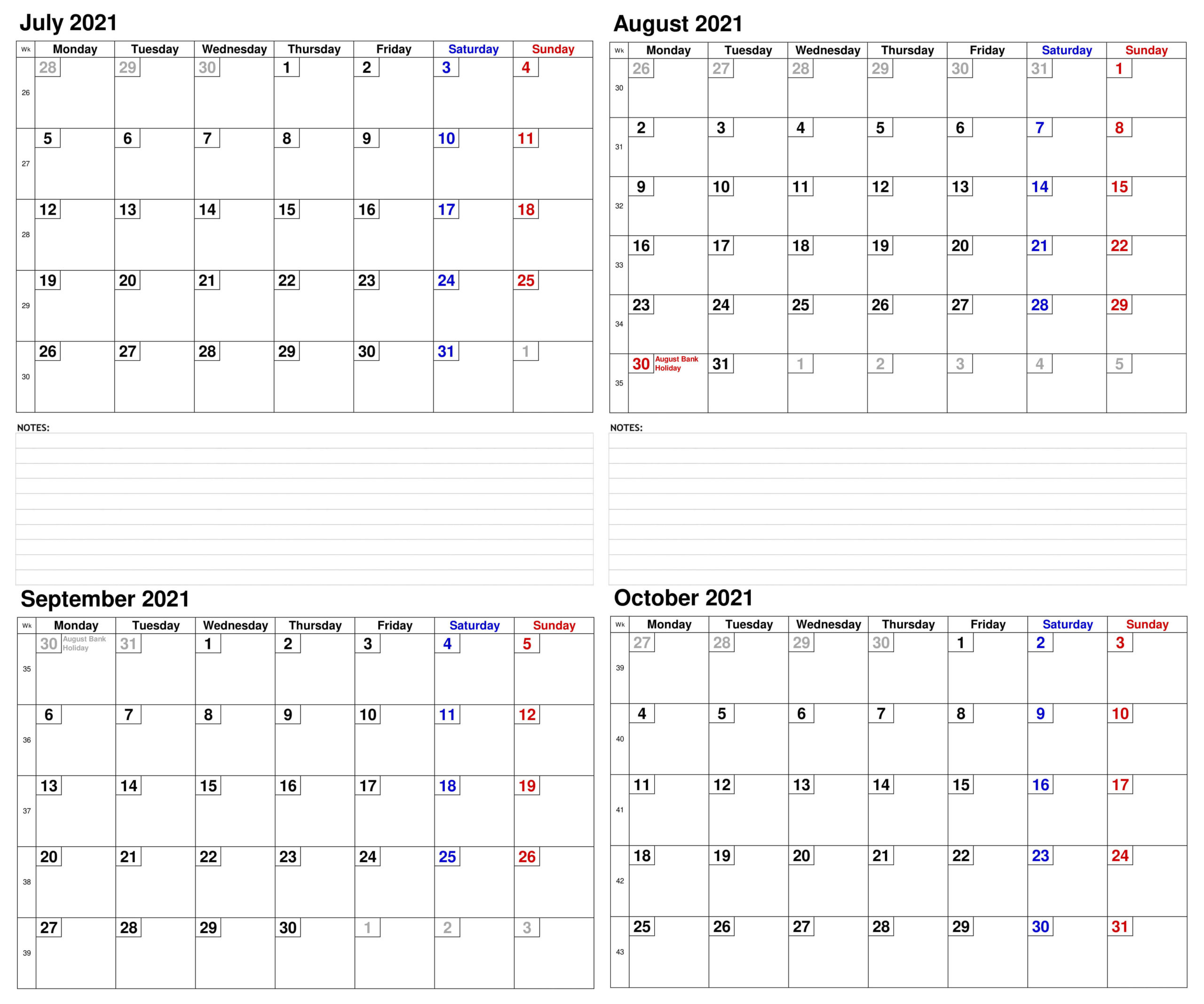 July to October 2021 Calendar With Holidays