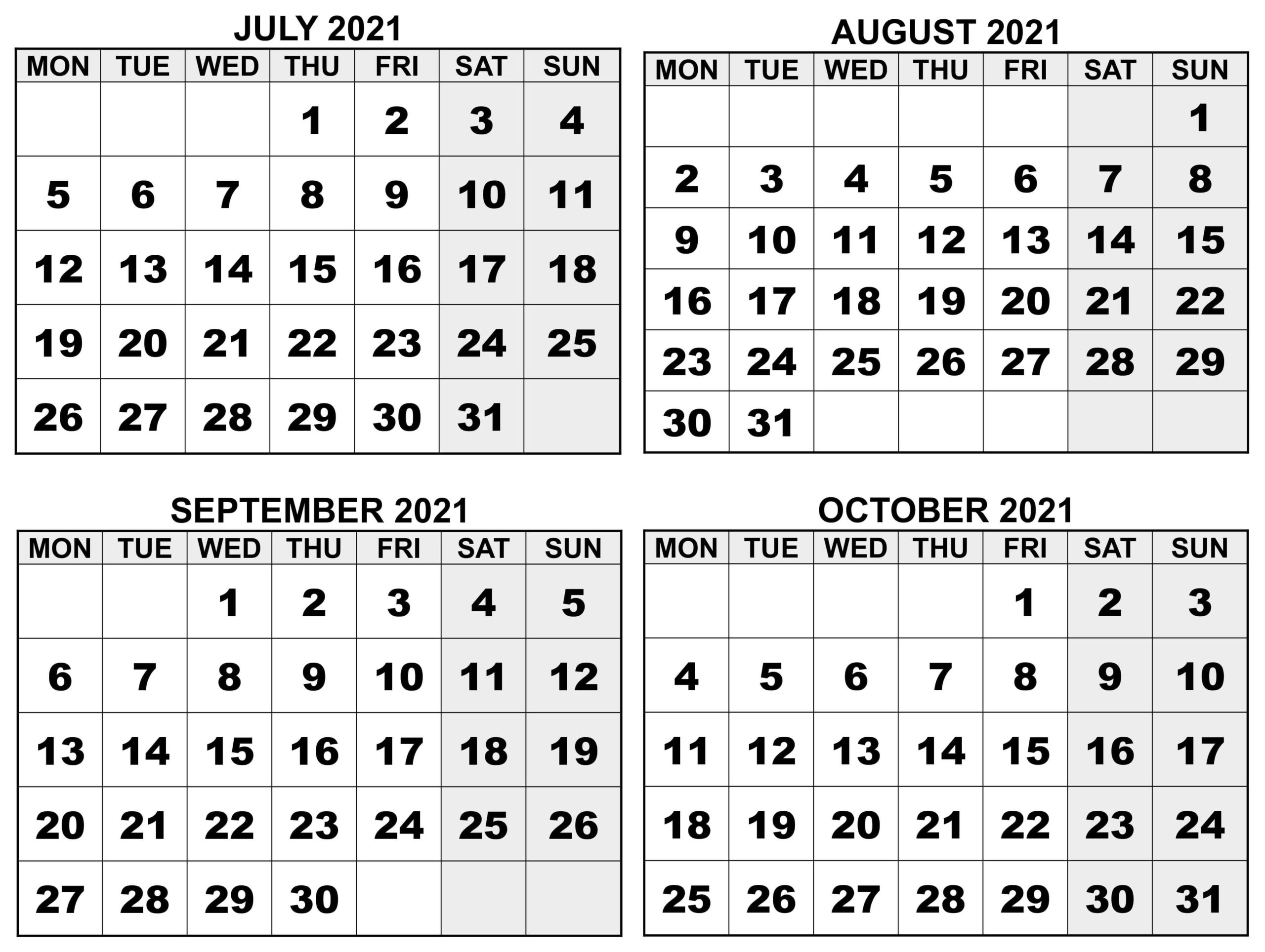 July to October 2021 Calendar With Notes