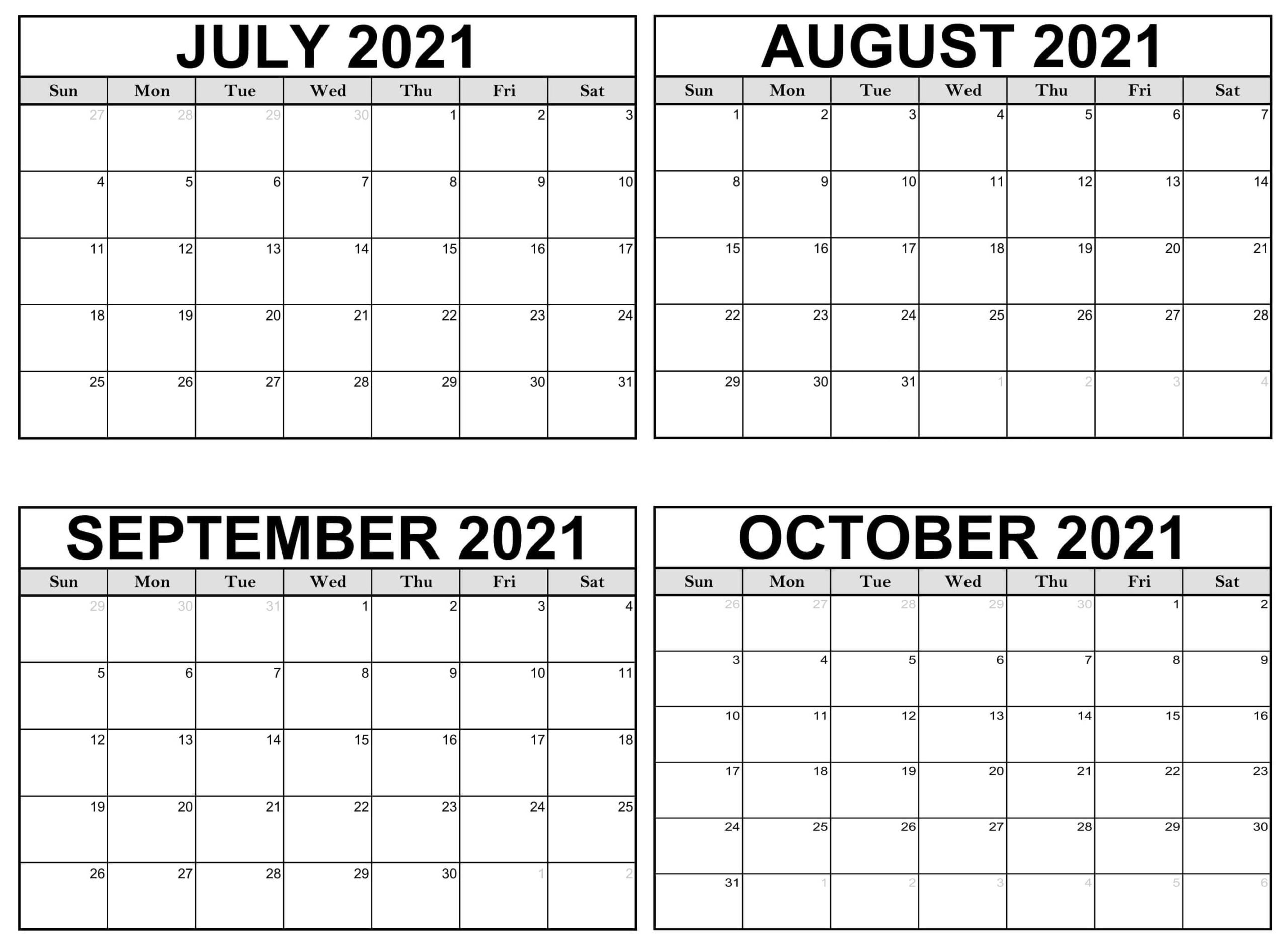 July to October 2021 Calendar