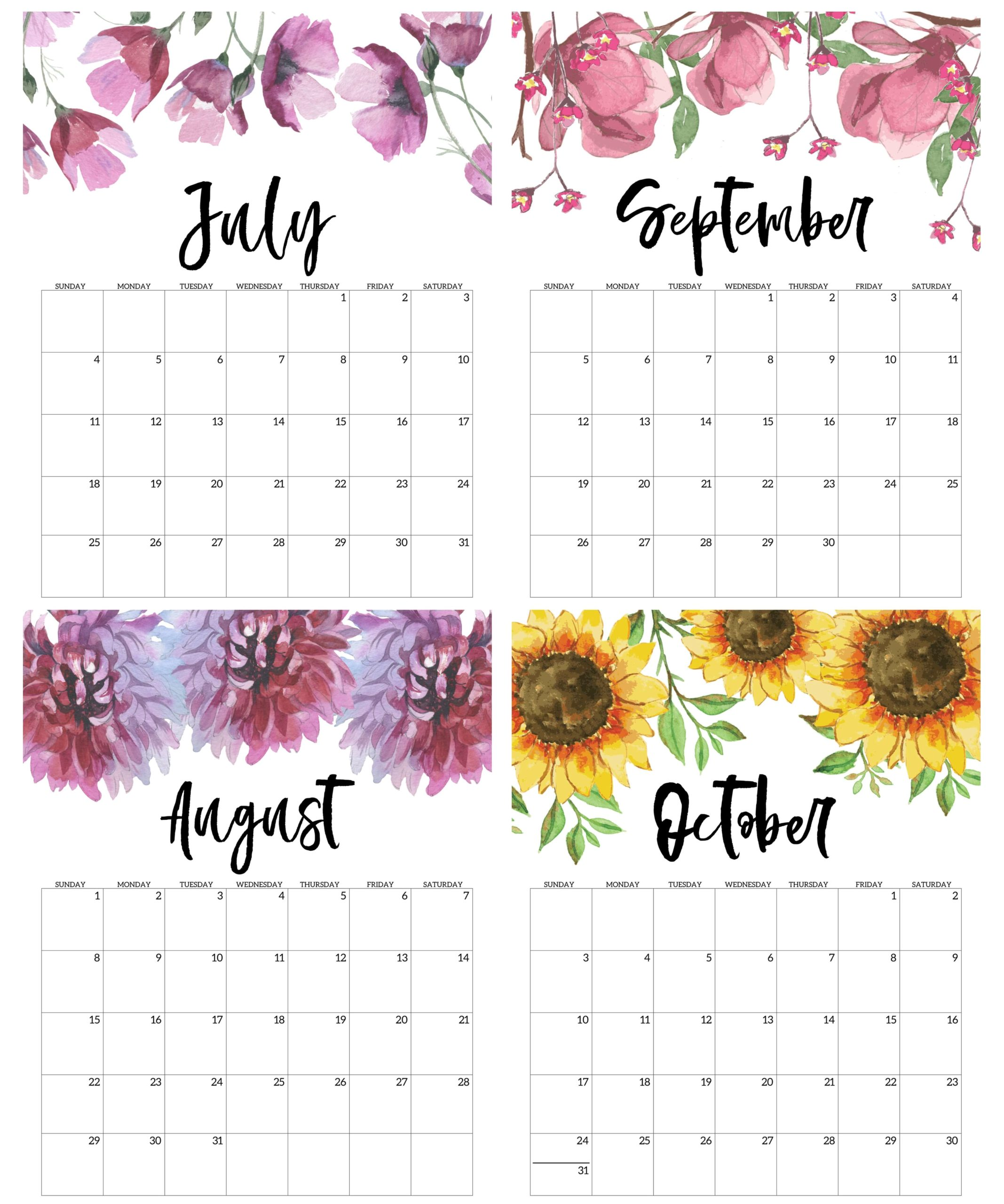 July to October Calendar 2021 For Kids