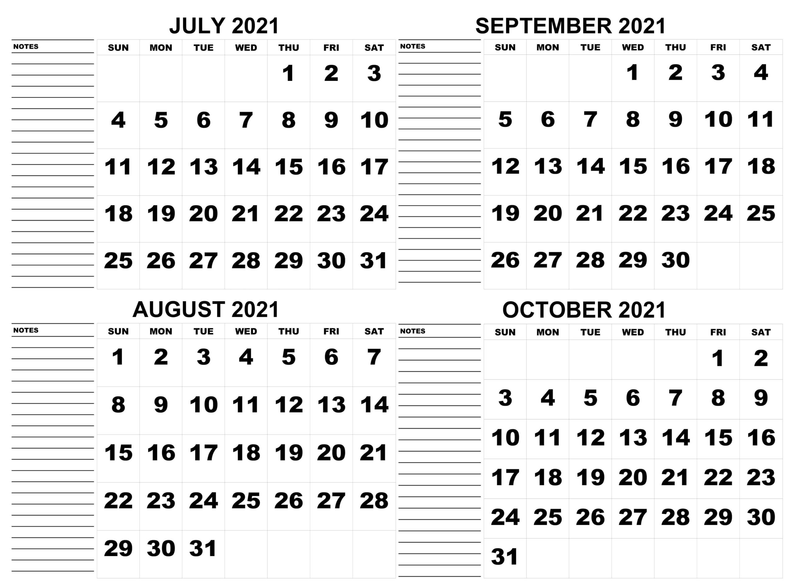 July to October Calendar 2021