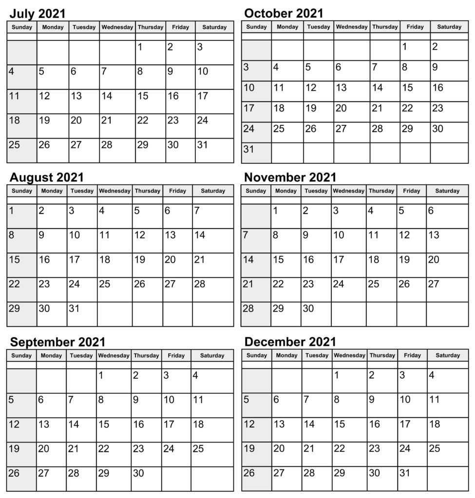 Printable 2021 July to December Calendar