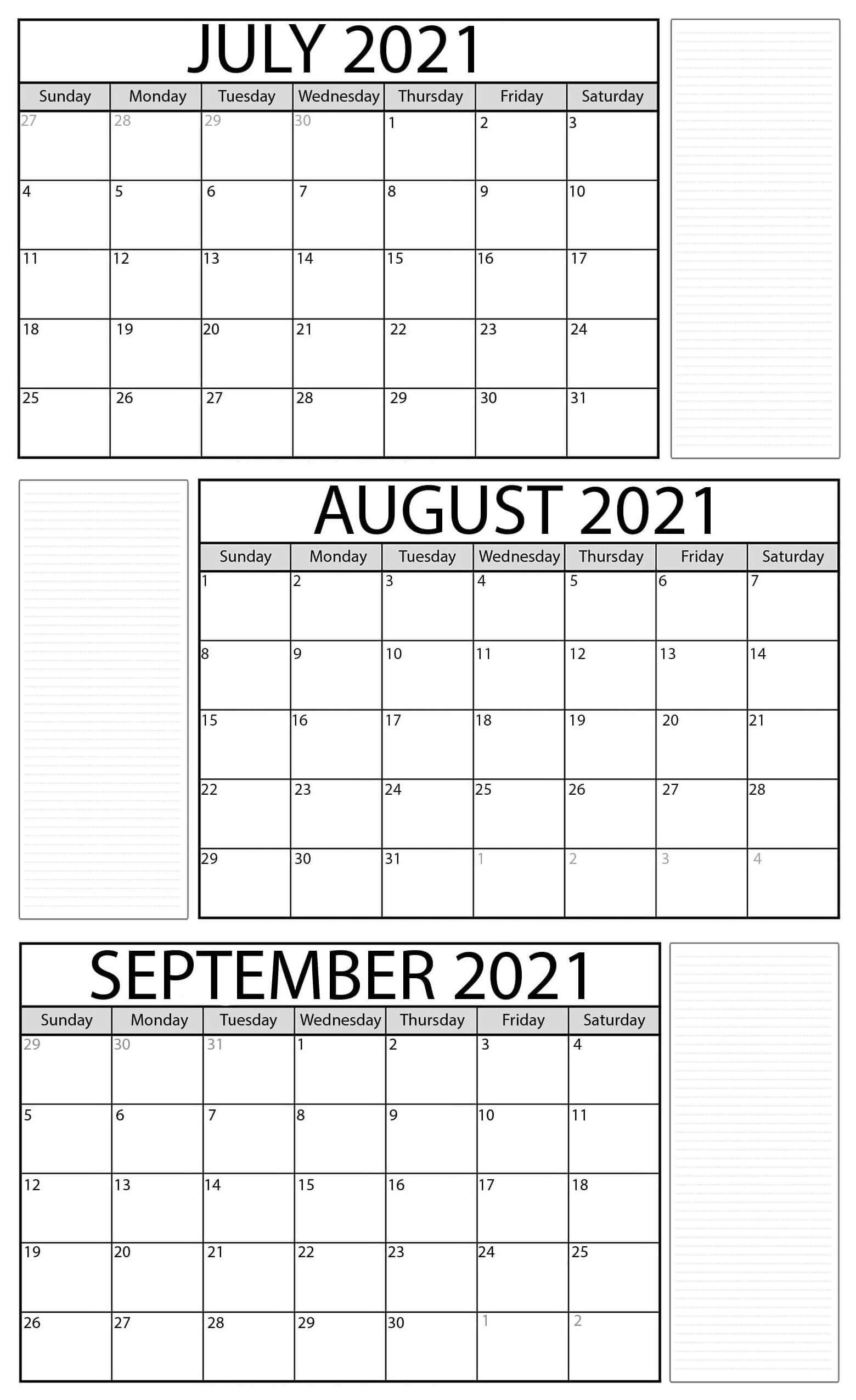 Printable July To September 2021 Calendar