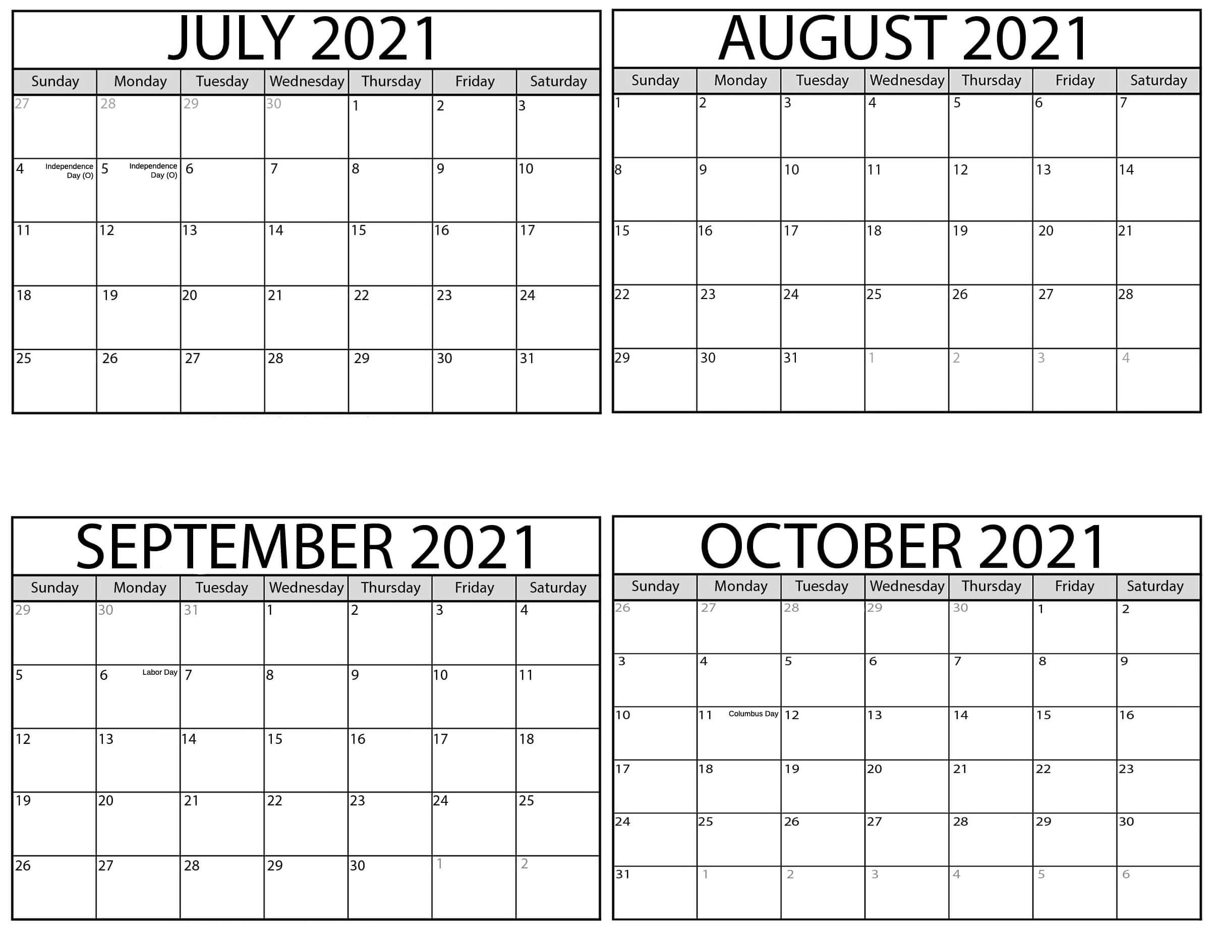 Printable July to October 2021 Calendar