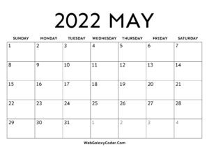 Calendar For May 2022